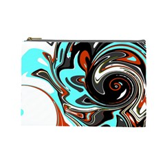 Abstract In Aqua, Orange, And Black Cosmetic Bag (large)
