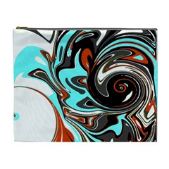 Abstract In Aqua, Orange, And Black Cosmetic Bag (xl)