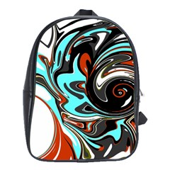 Abstract in Aqua, Orange, and Black School Bags(Large)