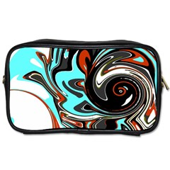Abstract In Aqua, Orange, And Black Toiletries Bags