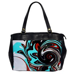 Abstract In Aqua, Orange, And Black Office Handbags
