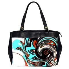 Abstract In Aqua, Orange, And Black Office Handbags (2 Sides)