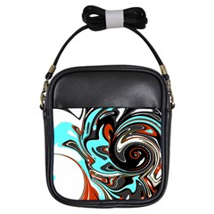 Abstract In Aqua, Orange, And Black Girls Sling Bags