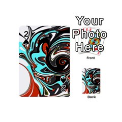 Abstract In Aqua, Orange, And Black Playing Cards 54 (mini)