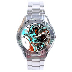 Abstract In Aqua, Orange, And Black Stainless Steel Men s Watch