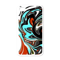 Abstract In Aqua, Orange, And Black Apple Iphone 4 Case (white)