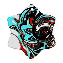 Abstract in Aqua, Orange, and Black Snowflake Ornament (2-Side)