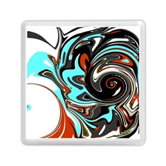 Abstract in Aqua, Orange, and Black Memory Card Reader (Square)