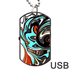 Abstract in Aqua, Orange, and Black Dog Tag USB Flash (Two Sides)
