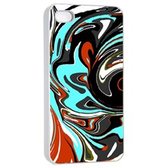 Abstract in Aqua, Orange, and Black Apple iPhone 4/4s Seamless Case (White)