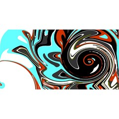 Abstract in Aqua, Orange, and Black YOU ARE INVITED 3D Greeting Card (8x4)
