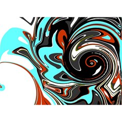Abstract In Aqua, Orange, And Black Birthday Cake 3d Greeting Card (7x5)