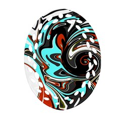 Abstract in Aqua, Orange, and Black Oval Filigree Ornament (2-Side)