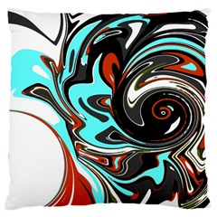 Abstract In Aqua, Orange, And Black Large Cushion Cases (one Side)