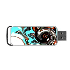 Abstract in Aqua, Orange, and Black Portable USB Flash (One Side)