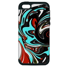 Abstract In Aqua, Orange, And Black Apple Iphone 5 Hardshell Case (pc+silicone)