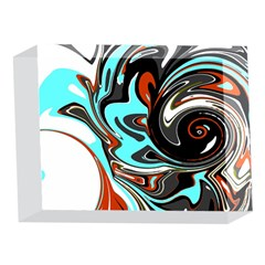 Abstract in Aqua, Orange, and Black 5 x 7  Acrylic Photo Blocks
