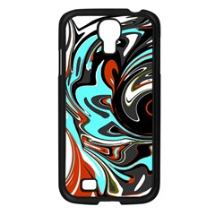 Abstract in Aqua, Orange, and Black Samsung Galaxy S4 I9500/ I9505 Case (Black)