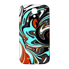 Abstract in Aqua, Orange, and Black Samsung Galaxy S4 I9500/I9505  Hardshell Back Case