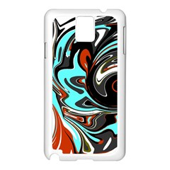 Abstract in Aqua, Orange, and Black Samsung Galaxy Note 3 N9005 Case (White)