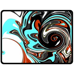 Abstract In Aqua, Orange, And Black Double Sided Fleece Blanket (large)