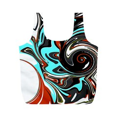 Abstract in Aqua, Orange, and Black Full Print Recycle Bags (M)