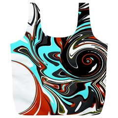 Abstract In Aqua, Orange, And Black Full Print Recycle Bags (l)