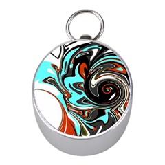 Abstract in Aqua, Orange, and Black Mini Silver Compasses