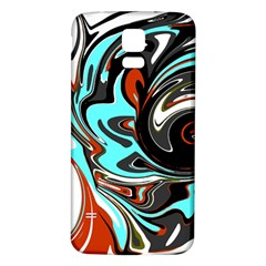 Abstract In Aqua, Orange, And Black Samsung Galaxy S5 Back Case (white)