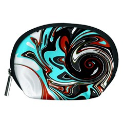 Abstract in Aqua, Orange, and Black Accessory Pouches (Medium)