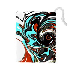 Abstract in Aqua, Orange, and Black Drawstring Pouches (Large)