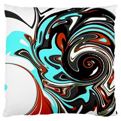 Abstract in Aqua, Orange, and Black Large Flano Cushion Cases (One Side)