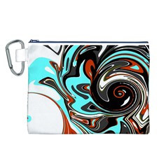 Abstract In Aqua, Orange, And Black Canvas Cosmetic Bag (l)