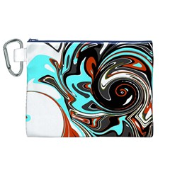 Abstract in Aqua, Orange, and Black Canvas Cosmetic Bag (XL)
