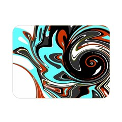 Abstract in Aqua, Orange, and Black Double Sided Flano Blanket (Mini)