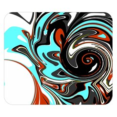 Abstract In Aqua, Orange, And Black Double Sided Flano Blanket (small)