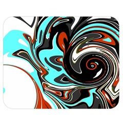 Abstract in Aqua, Orange, and Black Double Sided Flano Blanket (Medium)