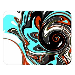 Abstract In Aqua, Orange, And Black Double Sided Flano Blanket (large)