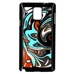 Abstract In Aqua, Orange, And Black Samsung Galaxy Note 4 Case (black)