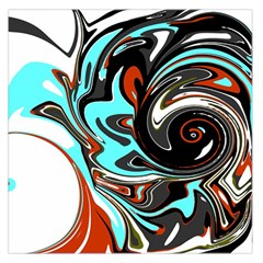 Abstract In Aqua, Orange, And Black Large Satin Scarf (square)
