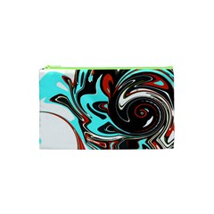 Abstract In Aqua, Orange, And Black Cosmetic Bag (xs)