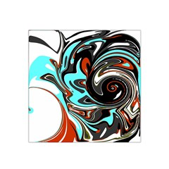 Abstract In Aqua, Orange, And Black Satin Bandana Scarf