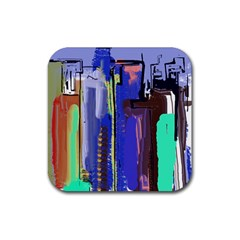 Abstract City Design Rubber Square Coaster (4 pack)