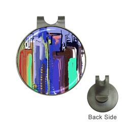 Abstract City Design Hat Clips With Golf Markers