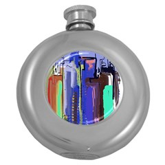 Abstract City Design Round Hip Flask (5 Oz)