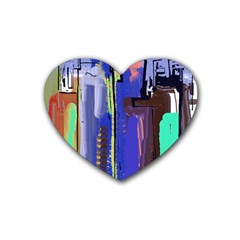 Abstract City Design Heart Coaster (4 Pack)