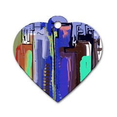 Abstract City Design Dog Tag Heart (Two Sides)