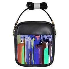 Abstract City Design Girls Sling Bags