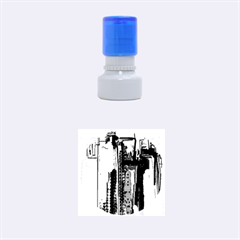 Abstract City Design Rubber Round Stamps (Small)