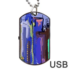 Abstract City Design Dog Tag Usb Flash (one Side)